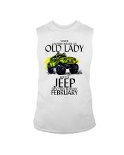 Never Underestimate Old Lady Jeep February Sleeveless Tee thumbnail