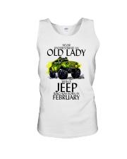 Never Underestimate Old Lady Jeep February Unisex Tank thumbnail