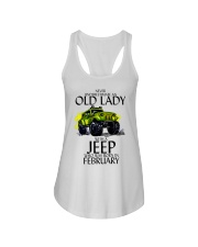 Never Underestimate Old Lady Jeep February Ladies Flowy Tank thumbnail