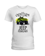 Never Underestimate Old Lady Jeep February Ladies T-Shirt thumbnail