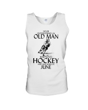 Never Underestimate Old Man Hockey June  Unisex Tank thumbnail