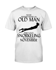 Never Underestimate Old Man Snorkeling November Classic T-Shirt front