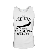 Never Underestimate Old Man Snorkeling November Unisex Tank thumbnail