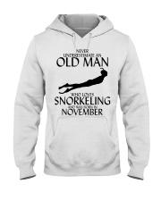 Never Underestimate Old Man Snorkeling November Hooded Sweatshirt thumbnail