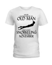 Never Underestimate Old Man Snorkeling November Ladies T-Shirt thumbnail