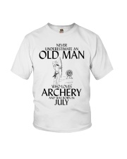 Never Underestimate Old Man Archery July  Youth T-Shirt thumbnail