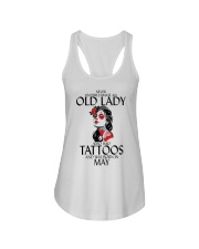 Never Underestimate Old Lady Tattoos May Ladies Flowy Tank thumbnail