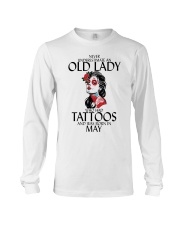 Never Underestimate Old Lady Tattoos May Long Sleeve Tee thumbnail