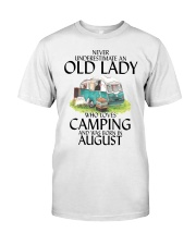 Never Underestimate Old Lady Camping August Classic T-Shirt front