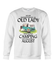 Never Underestimate Old Lady Camping August Crewneck Sweatshirt thumbnail