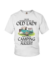Never Underestimate Old Lady Camping August Youth T-Shirt thumbnail