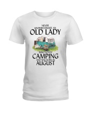 Never Underestimate Old Lady Camping August Ladies T-Shirt thumbnail
