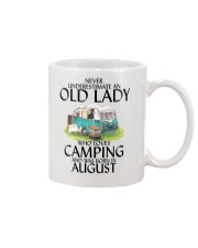 Never Underestimate Old Lady Camping August Mug thumbnail