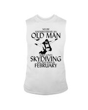 Never Underestimate Old Man Skydiving February Sleeveless Tee thumbnail
