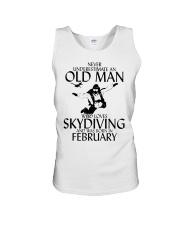 Never Underestimate Old Man Skydiving February Unisex Tank thumbnail