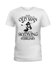 Never Underestimate Old Man Skydiving February Ladies T-Shirt thumbnail