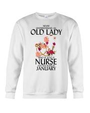 Never Underestimate Old Lady Nurse January Crewneck Sweatshirt thumbnail