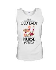 Never Underestimate Old Lady Nurse January Unisex Tank thumbnail