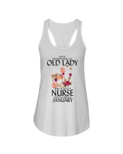 Never Underestimate Old Lady Nurse January Ladies Flowy Tank thumbnail