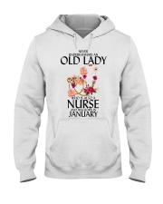 Never Underestimate Old Lady Nurse January Hooded Sweatshirt thumbnail