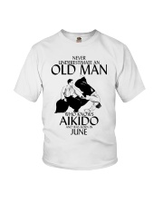 Never Underestimate Old Man Aikido June Youth T-Shirt thumbnail