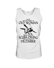 Never Underestimate Old Woman Scuba DivingDecember Unisex Tank thumbnail