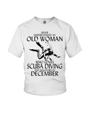 Never Underestimate Old Woman Scuba DivingDecember Youth T-Shirt thumbnail