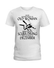 Never Underestimate Old Woman Scuba DivingDecember Ladies T-Shirt thumbnail