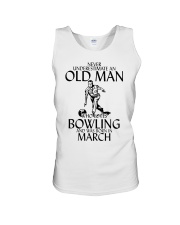 Never Underestimate Old Man Bowling March Unisex Tank thumbnail