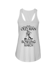 Never Underestimate Old Man Bowling March Ladies Flowy Tank thumbnail