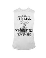 Never Underestimate Old Man Weightlifting November Sleeveless Tee thumbnail