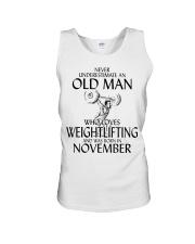 Never Underestimate Old Man Weightlifting November Unisex Tank thumbnail