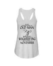 Never Underestimate Old Man Weightlifting November Ladies Flowy Tank thumbnail