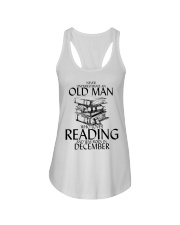 Never Underestimate Old Man Reading December Ladies Flowy Tank thumbnail