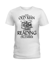 Never Underestimate Old Man Reading December Ladies T-Shirt thumbnail