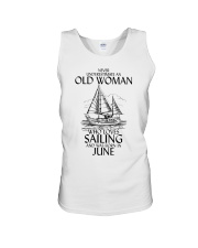 Never Underestimate Old Woman Sailing June Unisex Tank thumbnail