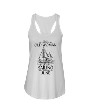 Never Underestimate Old Woman Sailing June Ladies Flowy Tank thumbnail