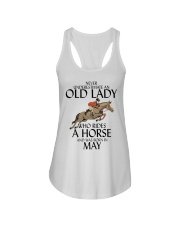 Never Underestimate Old Lady Rides Horse May Ladies Flowy Tank thumbnail