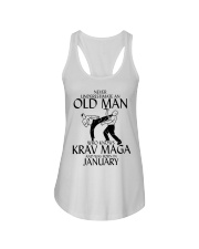 Never Underestimate Old Man Krav maga January Ladies Flowy Tank tile