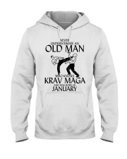 Never Underestimate Old Man Krav maga January Hooded Sweatshirt tile