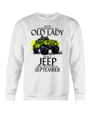 Never Underestimate Old Lady Jeep September Crewneck Sweatshirt thumbnail