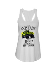 Never Underestimate Old Lady Jeep September Ladies Flowy Tank thumbnail