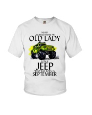 Never Underestimate Old Lady Jeep September Youth T-Shirt thumbnail