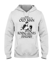 Never Underestimate Old Man Boxing Gloves January Hooded Sweatshirt thumbnail