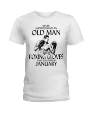 Never Underestimate Old Man Boxing Gloves January Ladies T-Shirt thumbnail