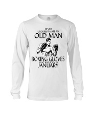 Never Underestimate Old Man Boxing Gloves January Long Sleeve Tee thumbnail