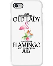 Never Underestimate Old Lady Flamingo July Phone Case thumbnail