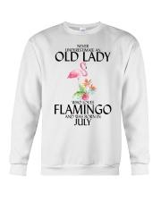 Never Underestimate Old Lady Flamingo July Crewneck Sweatshirt thumbnail
