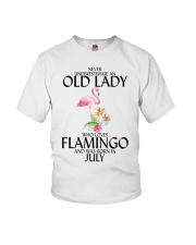 Never Underestimate Old Lady Flamingo July Youth T-Shirt thumbnail