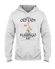 Never Underestimate Old Lady Flamingo July Hooded Sweatshirt thumbnail
